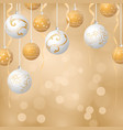 christmas balls background gold and white colors vector image vector image