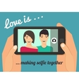 Couple taking selfie vector image