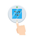 electronic thermostat with hand which is pressing vector image vector image