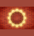 frame of retro light bulb on brick wall vector image