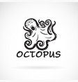 freehand octopus painting on white background sea vector image vector image