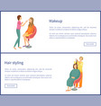 hair styling and makeup posters set text spa salon vector image