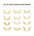 hand drawn wings set design elements vector image vector image