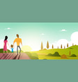 happy family walks outdoors summer sunset vector image