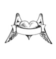 heart with the wings isolated on the white vector image vector image
