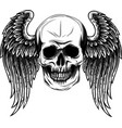 human skull with wings for tattoo design vector image vector image