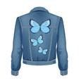 jeans jacket with patches vector image vector image
