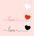 logo love word love with a heart three options vector image vector image