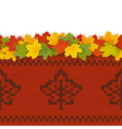 Maple Leaves with Autumn Knitted Pattern 2 vector image vector image