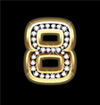 Number eight bling gold and diamonds vector image vector image