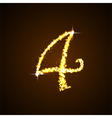 Number four of gold glittering stars vector image vector image