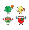 pepper watermelon lemon and apple doing sport vector image vector image