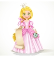 Princess holding a blank sheet of parchment vector image vector image