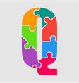 puzzle piece letter - q jigsaw font shape vector image