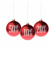 Red 3d christmas Baubles with discount label vector image vector image