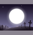 scary background for halloween cemetery with vector image vector image