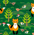 Seamless pattern fox and forest tree mushrooms vector image vector image