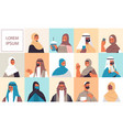 set arabic women men in traditional clothes vector image