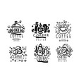 set minimalistic logos for a coffee shop vector image vector image