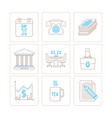 set of business icons and concepts in mono thin vector image vector image