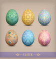 set of vintage easter eggs vector image