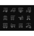 Shop on wheels white flat line icons vector image vector image