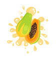 sliced ripe papaya juice splashing colorful fresh vector image