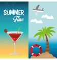 summer time cocktail palm beach lifebuoy banner vector image