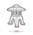 toro lantern in hand drawn style vector image vector image