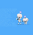 two cute robots sleeping updating system vector image