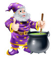 wizard stirring cauldron vector image vector image