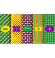 Bright abstract mardi gras pattern set vector image