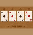 old four poker playing cards vector image
