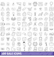 100 sale icons set outline style vector image vector image