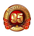 95 anniversary golden label with ribbon vector image