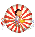A boy playing with a musical instrument with vector image