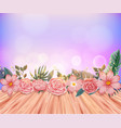 background with pink roses and wooden floor vector image vector image