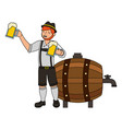 bavarian man with beers barrel vector image vector image