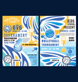 beach volleyball sport balls and trophy cup vector image vector image