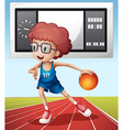 Boy playing basketball in the field vector image