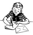 boy writing a letter vector image vector image