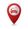 car wash icon on red map pointer vector image