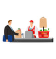 cashier and buyer vector image