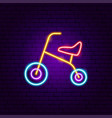 child bicycle neon sign vector image vector image