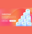 christmas concept with thin line isometric icons vector image