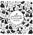 Christmas doodle elements set vector image vector image