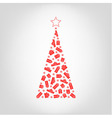 christmas tree from red gift box and snowflake vector image