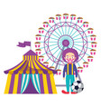 circus tent with clown and wheel fortune vector image vector image
