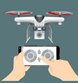control drone on cellphone vector image vector image