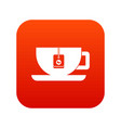 cup of tea with tea bag icon digital red vector image vector image